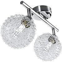 B.K.Licht plafonnier LED avec globes en cristal, 2 spots orientables, ampoules G9 3,5W fournies, luminaire design…