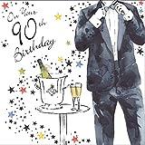 twizler Happy 90th Birthday Karte für Ihn mit Silber folieren und einzigartige Wasserfarben Effekt–Champagner und Tux–90Jahre–Alter 90Geburtstag–Stecker Geburtstag Karte