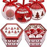 Valery Madelyn Palle Decorazioni di Natale Christmas Balls Paper 14 Pezzi Bagattelle di Natale da 7 Cm per Decorazioni Albero di Natale con Alberi di Natale Rosso Bianco