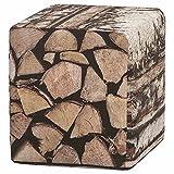 Boogaard 1545001 Hocker Holzstapel 40 x 45 cm Bezug 100% PE, PU beschichtet, mehrfarbig
