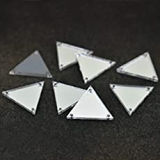Embroiderymaterial Acrylic Mirror for Embroidery and Craft Purpose (Triangle Shape, 25 Pieces)