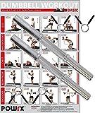 POWRX - Barra corta de mancuerna (2 unidades con cierre de resorte) | Cromado & moleteados | Longitudes - 35 cm, 38 cm, 40 cm - Incluye PDF workout