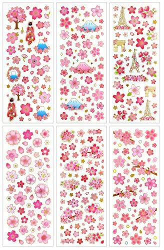 Home-cherry-kollektion (cl007-sakura-Klar Gold Metallic Folie Aufkleber-6verschiedene Blatt dekorativen Craft Scrapbooking Aufkleber Set mit schönen Sakura Fuji Mountain Japan)