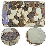 3Tlg. Badgarnitur Set Badematte Badteppich Badvorleger Duschmatte Muster Steine