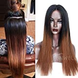 Dritto due tono ombre capelli umani parrucche per donne nere Sunwell pizzo anteriore parrucche capelli umani Silky straight Wigs # 1B/30ombre color 2Tone 130% Density