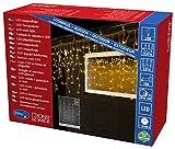 Konstsmide 3672-103 LED Eisregen Lichtervorhang mit weißen Globes/für Außen (IP44) / 24V Außentrafo / 200 warm weiße Dioden/transparentes Kabel