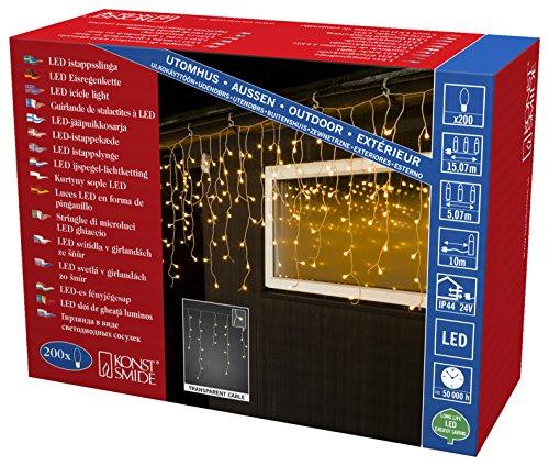 Konstsmide LED nevischio, 200Globes bianca calda, diodi, 24V trasformatore esterno, cavo trasparente/3672-103