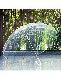 Shenhai Bone hombres y mujeres paraguas transparente retro mango largo paraguas transparente paraguas de publicidad automática