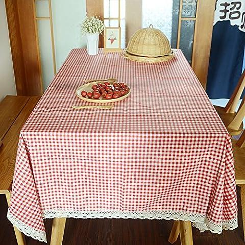 MEICHEN-Plaid rojo Mantel de algodón tejido home mesa de café mesa de café mesa rectangular de tela,tela Plaid rojo,Coaster 10*10 4