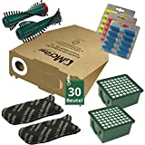 66 tlg Spar Angebot 30 Staubsaugerbeutel Filter Set Bürsten und Duft passend für Vorwerk Kobold VK 130 , Kobold VK 131 und 131 SC