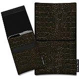 SIMON PIKE Lenovo Phab 2 Plus Kunstleder Tasche Sidney 01 in gold Kroko Kunstleder, handgefertigte Smartphone Leder Tasche aus robustem Kunstleder