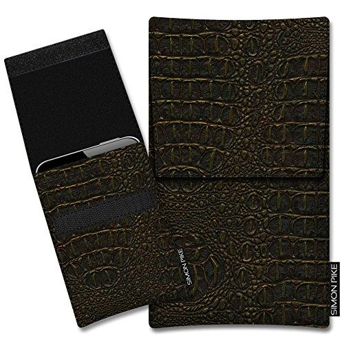 SIMON PIKE Kunstleder Tasche Sidney, kompatibel mit Siswoo R9 DarkMoon, in 01 Gold Kroko Kunstleder