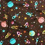 Rakete bunt Weltraum Planet Kinder Jersey Textil Stoff