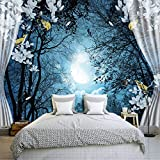 Hwhz 3D Wall Mural Wall Paper Natural Scenery Peaceful Night Forest Moon Custom 3D Room Landscape Photo Wallpaper Window View Bedroom-200X140Cm