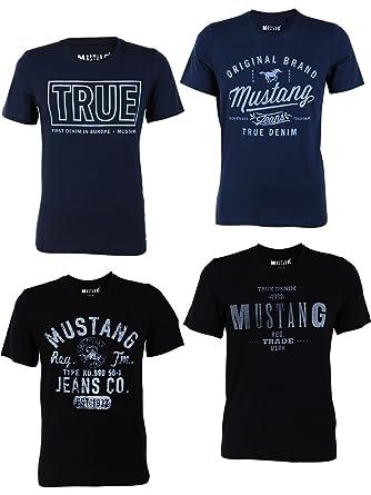 4er Pack Mustang Herren T Shirt Mit Frontprint Und