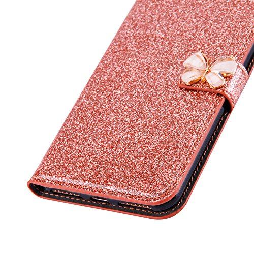 Custodia per iPhone 5s, CLTPY iPhone SE Bellissimo Colore Puro Shiny Forma di Libro Flip Bookstyle Case, Pelle Bumper con Magnetica e Stand Full Body Wrap Protective per Apple iPhone 5/5s/SE + 1x Stil Oro Rosa