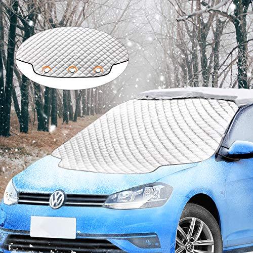 Migimi Frontscheibenabdeckung, Windschutzscheibe Abdeckung Winterabdeckung Eisschutz Faltbare Auto Frostabdeckung Magnet Schneeschutz, Abnehmbare Eisschutzfolie für Winter UV-Schutz, 183 * 116cm