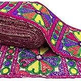 frontera sari bordado ajuste de la cinta de tela de flores 9,6 cm de ancho de corte por el patio