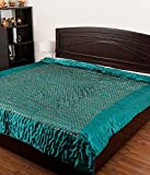 Famacart Double Bed Size Green Jaipuri Silk AC Quilt Razai with Gold Prints