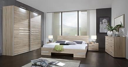 Hervorragend Lifestyle4living Schlafzimmer 4 Tlg. Eiche Sägerau Dekor Mit  Chrom Aufleistungen, Schrank