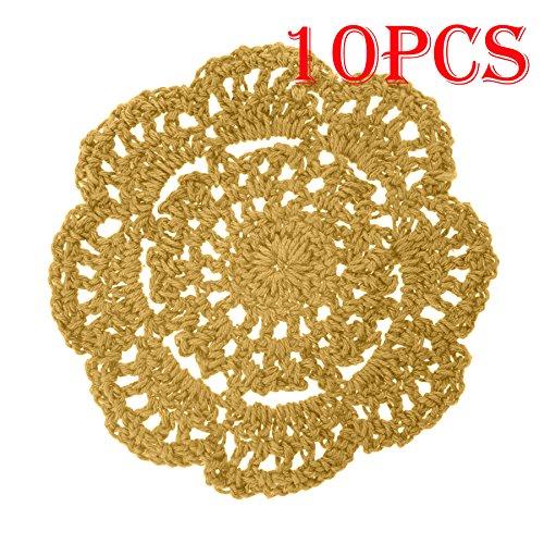 aspire 4 Pouces 10 pièces/Set 18 Couleur Coton Rond au Crochet Fait Main Dentelle napperons napperons Deep Yellow