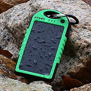 Levin™ Solstar Solar Panel Charger 5000mAh Rain-resistant and Dirt/Shockproof Dual USB Port Portable Charger Backup External Battery Power Pack for iPhone 5S 5C 5 4S 4, iPods(Apple Adapters not Included), Samsung Galaxy S5 S4, S3, S2, Note 3, Note 2, Most