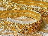 Mosel Avenue Art & Gobelin Studio 5,0 m Posamentenborte Breite 16 mm Farbe Gold/Honiggelb (1,1 €/m) 5m,10m,15m uzw Brokatborten Dekoborte Bordüre Fransen Brokat Spitze Barock