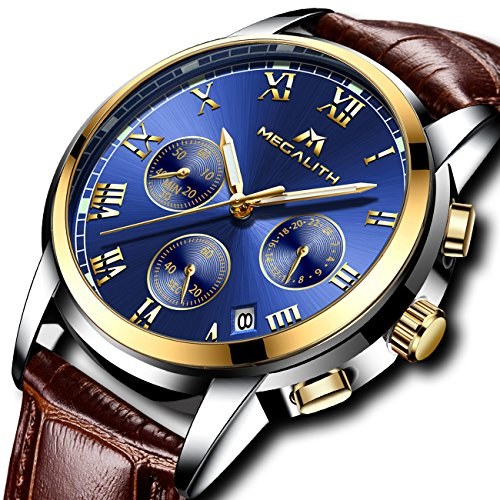 Mens Watches Men Sport Waterproof Luminous Date Leather Wrist Watch Business Dress Chronograph Watches for Men