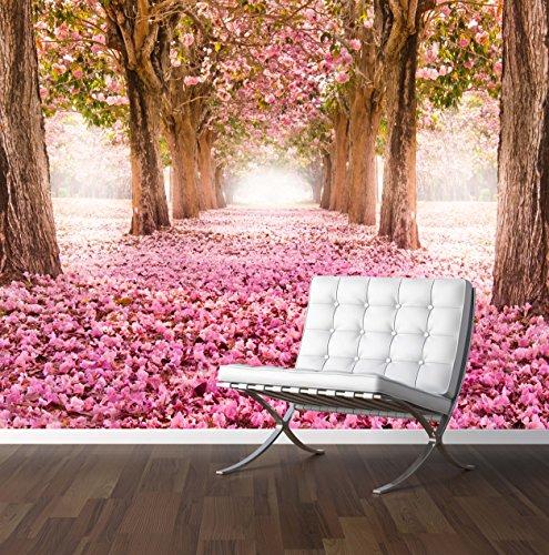Romantischer Baum Tunnel Wand Wandbild Foto Tapete Pink Blumen Hochzeit Hintergrund, X Large 1900mm x 1488mm