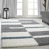 Carpetsale24 Hochflor Shaggy Teppich für Wohnzimmer Langflor Pflegeleicht Schadsstof geprüft Teppiche Streifen Oeko Tex Standarts, Farbe:Türkis, Maße:140x200 cm