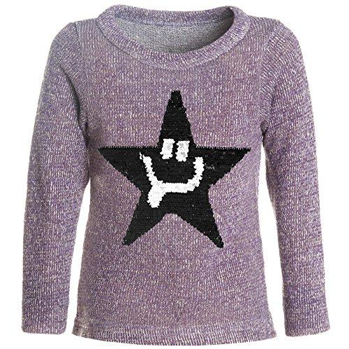 BEZLIT Mädchen Pullover Gestrickt Wende-Pailletten Sweatshirt Pulli 21488 Lila Größe 116 -