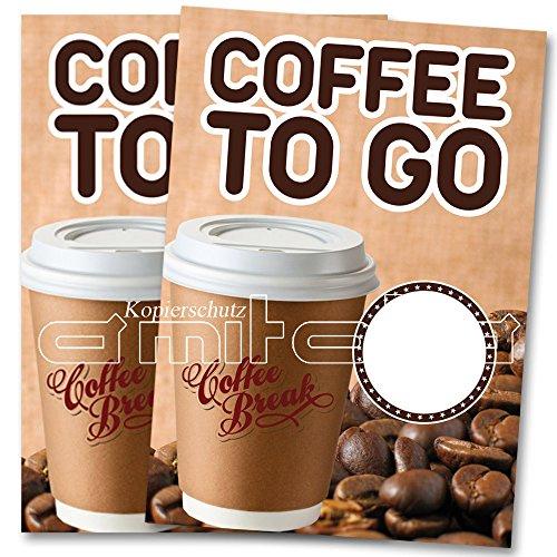2 x Coffee - Kaffee to go Poster / Plakat DIN A1 Werbung für Cafes (Plakat Werbung)