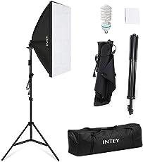 INTEY Softbox Dauerlicht Fotostudio Set Studioleuchte Set inkl. 50x70cm Fotostudio Softbox / 5500K Tageslicht 85W Fotolampe / faltbare Lampenstativ / Tragetasche