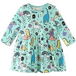Vestidos NiñA Verano/OtoñO, Vestido De Verano Estampado De Dinosaurio Infantil De Mangas Cortas para NiñA De Verano (Verde, 6T/6-7años)