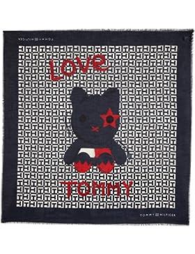Tommy Hilfiger Damen Halstuch Logo Mascot Scarf, Blau (Tommy Navy/Oatmeal/Tommy Red 901), One size (Herstellergröße...