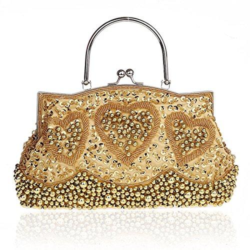 KAXIDY Damen Glanz Strass Pailletten Handtasche Clutches Handtasche Abendtasche Gold