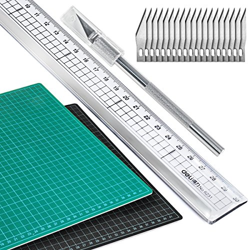 A3 Schneidematte (30 x 45 cm) mit Schneidelineal und Präzisionsmesser inkl. 20 Ersatzklingen