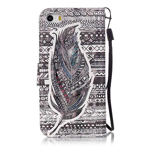 Qiaogle Telefon Case - PU Leder Wallet Schutzhülle Case für Apple iPhone 7 (4.7 Zoll) - YB14 / Paris Turm YB09 / Retro Aztec Tribe Gestreifte Feder