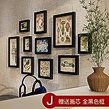 HJKY Photo Frame Wall Set Solid Wood Photo Frame Wall Frames Creative European Style Living Room Photo Wall Bedroom Photo Wall Photo Frame Wall Photo Frame, J-All Black