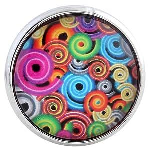 Morella Damen Glas Click-Button Druckknopf 70s Art
