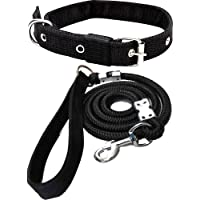 SENAPATI Dog Neck Collar Belts and Rope Leash Set with Fibre Handle (Black Color, Waterproof, X-Large, Rope Leash Size 1…
