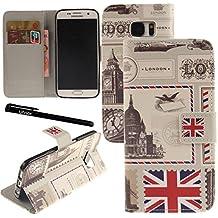 Urvoix Galaxy S7caso, piel sintética cartera funda con tapa [Londres] W/función atril/cierre magnético/ID tarjeta de Crédito Tarjetero para Samsung Galaxy S7G930
