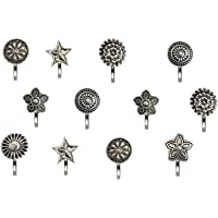 VAMA Fashions Oxidised Metal, Silver Nose Ring Studs with Body Piercing Jewellery Nose Pin for Women