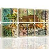 Feeby Frames, Cuadro de pared - 6 partes - Cuadro decorativo, Cuadro impreso, Cuadro Deco Panel, 180x120cm, VINTAGE, RADIO, PRETZELS, CAFÉ, FLORES, DOBLE EXPOSICIÓN, MULTICOLOR