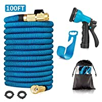 Huatuo 30-meter garden hose Tube 100-foot extendable stretch hose with 8-function nozzle High-pressure washer for irrigation Washing Cleaning