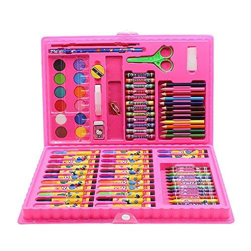 Zhangcaiyun penna di vernice cancelleria per pittura per bambini set 86 set di strumenti artistici di scuola elementare pastello penna combinazione acquerello graffiti pen (colore : rosa)