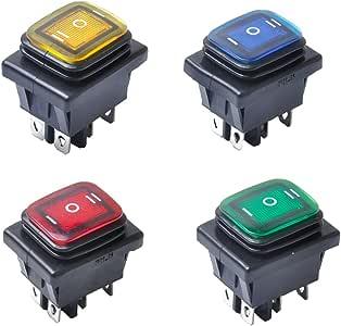 perfk 4 Pezzi 6-Pin 3 Posizione Rocker Toggle Switch Interruttore A Levetta 12V LED Per Auto Barca