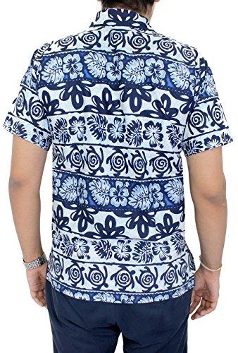 LA LEELA Strand Hawaiihemd Herren XS - 5XL Kurzarm Front-Tasche Hawaii-Print Casual Button Down Hemd Navy Blau Navy Blau