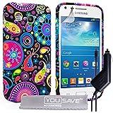 Yousave Accessories Coque Samsung Galaxy Core Plus Noir / Couleur Multi Silicone Gel Méduse Housse Avec Chargeur De Voiture