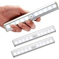 Lot de 3 lampe led detecteur de mouvement interieur Lumière Armoire 10 LEDs spot sans Fil, Lampe de Placard LED…